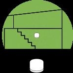 Illustrasjon av en liten bolig med ett enkelt wifi-punkt markert med en grønn sirkel plassert sentralt i boligen.
