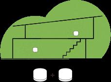Illustrasjon av en middels størrelse bolig med to wifi-punkt markert med grønne sirkler plassert på motsatt ende av boligen.