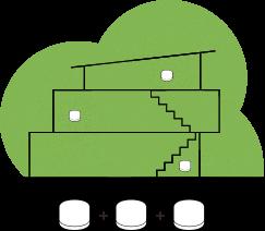 Illustrasjon av en tre-etasjers bolig med tre wifi-punkt markert med grønne sirkler plassert én i hver etasje av boligen.
