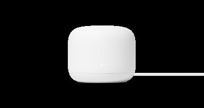 En hvit Google Nest Wifi-ruter med runde hjørner og ledning