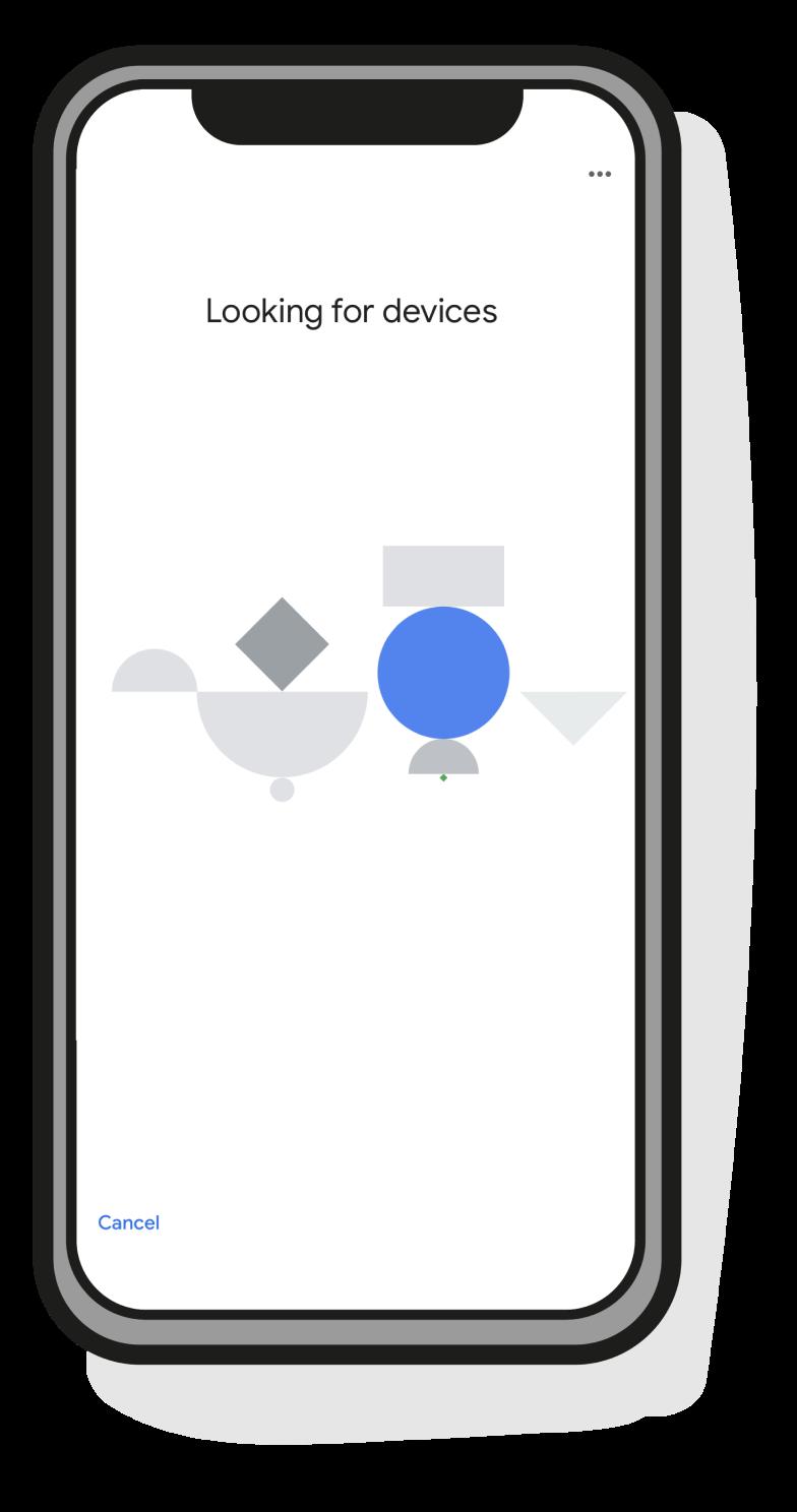"""Skjermbilde fra Google Home-appen hvor det står """"Looking for devices"""""""