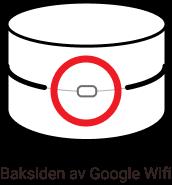 Illustrasjon av baksiden på en Google Wifi hvor en knapp er markert.