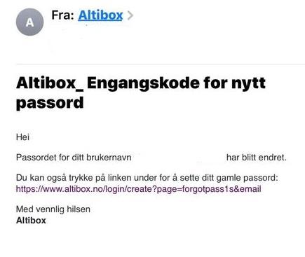 Dette er ikke en ekte mail fra Altibox.